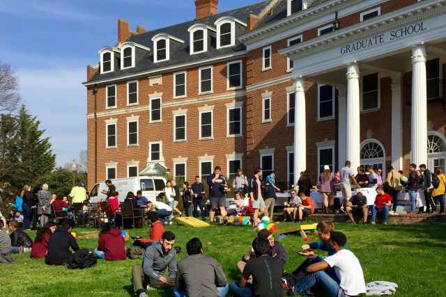 Students gather for the annual Graduate School cookout, capping Graduate Education Week each spring at Virginia Tech