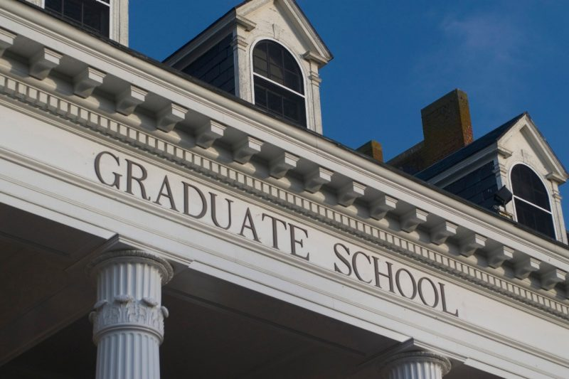a detail of the portico over the Graduate Life Center's Alumni Hall entrance