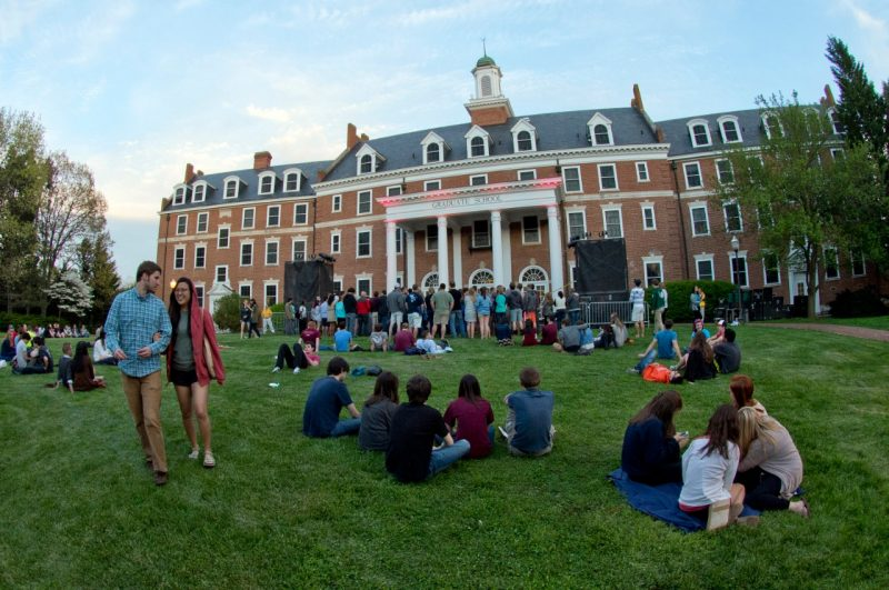 Students at a concert on the Graduate Life Center lawn