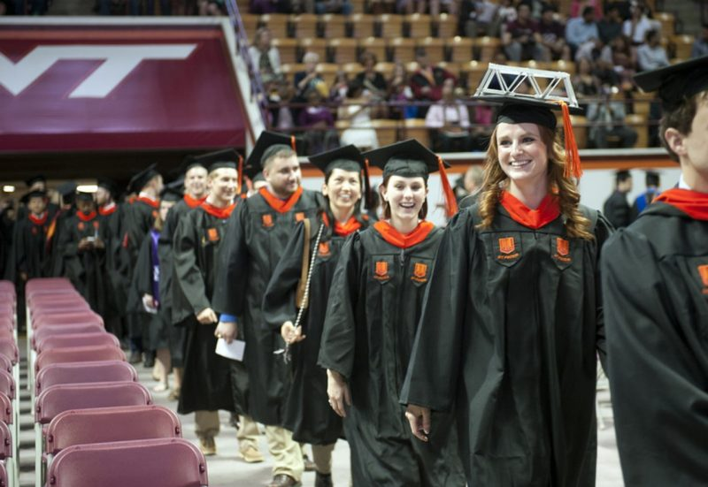 Master's degree students process during Graduate School Commencement Ceremonies